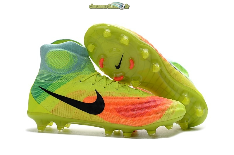 Chaussure Nike Magista obra II FG Orange Jaune Bleu