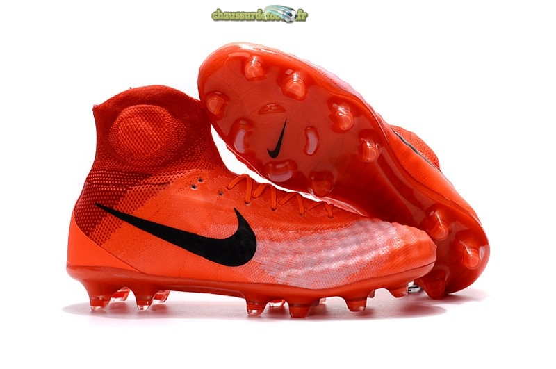 Chaussure Nike Magista obra II FG Orange Noir Rouge