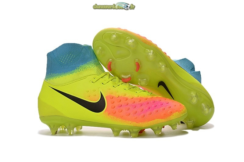 Chaussure Nike Magista orden II FG Jaune Orange Bleu
