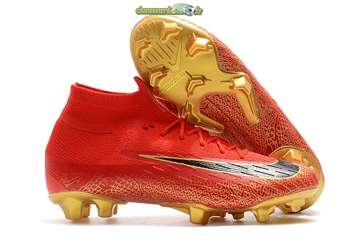Chaussure Nike Mercurial Superfly VI 360 Elite FG Or Rouge