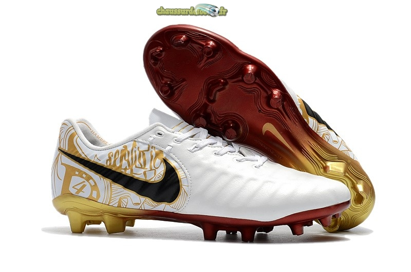 Chaussure Nike Tiempo Legend VII FG Blanc Or Rouge