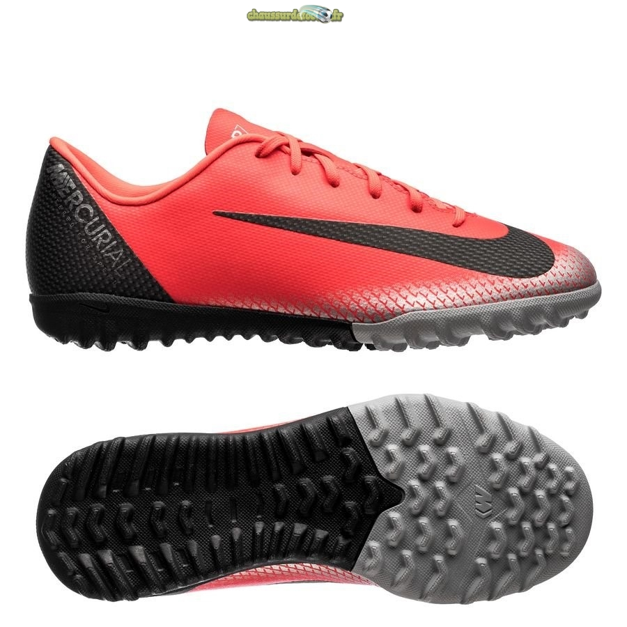 Chaussure Nike Mercurial VaporX 12 Academy CR7 TF Rouge