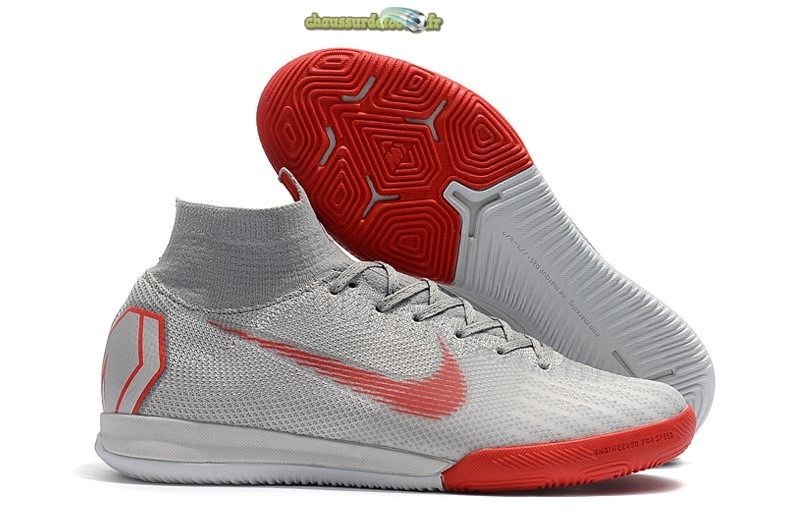 Chaussure Nike SuperflyX 6 Elite IC Gris Rouge