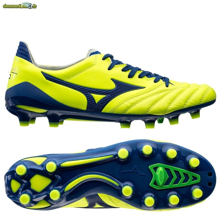 Chaussure Mizuno Morelia Neo II Made in Japan FG Brazilian Spirit Jaune Bleu