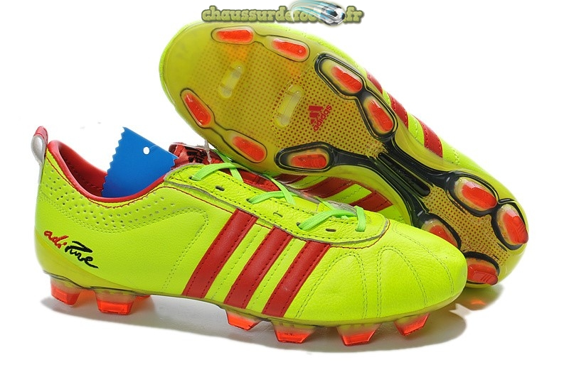Chaussure Adidas AdiPure 11Pro IV FG Vert Fluorescent Rouge