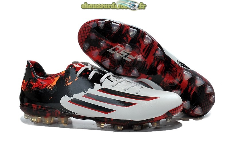 Chaussure Adidas Messi F50 AG Blanc Noir Rouge