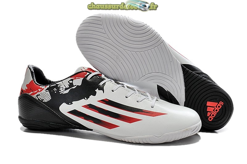 Chaussure Adidas Messi F50 INIC Blanc Noir Rouge