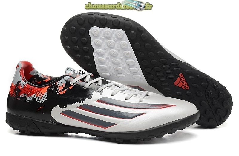 Chaussure Adidas Messi F50 TF Blanc Noir Rouge