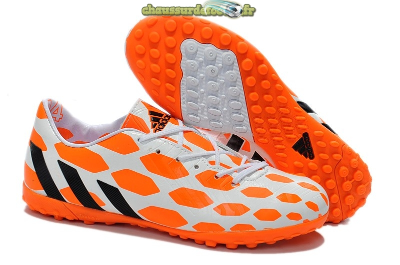 Chaussure Adidas Predator Instinct TF Blanc Orange