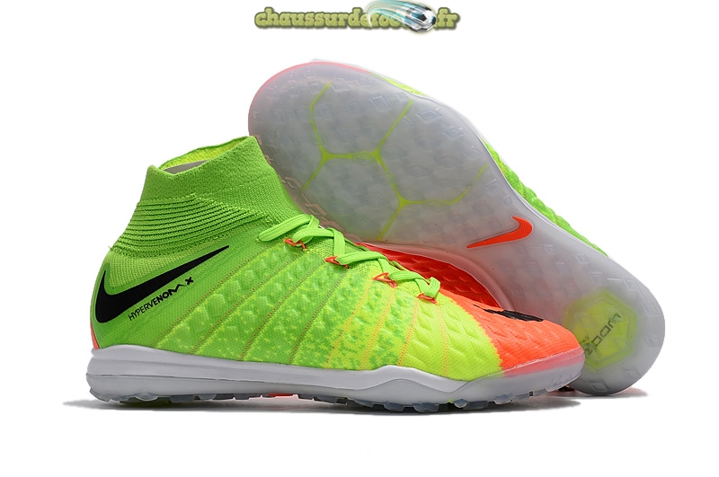 Chaussure Nike HyperVenomX Proximo II DF TF Fluorescent Orange Noir