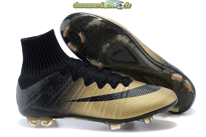 Chaussure Nike Mercurial Superfly CR7 Enfants FG Noir Or