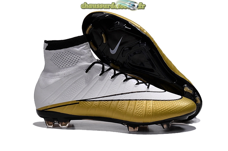 Chaussure Nike Mercurial Superfly CR7 FG Blanc Or