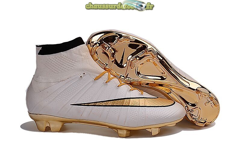 Chaussure Nike Mercurial Superfly FG Blanc Or