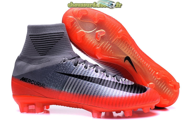 Chaussure Nike Mercurial Superfly V CR7 FG Argent Gris Orange