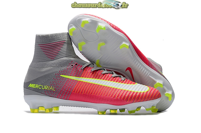 Chaussure Nike Mercurial Superfly V FG Gris Rouge Jaune