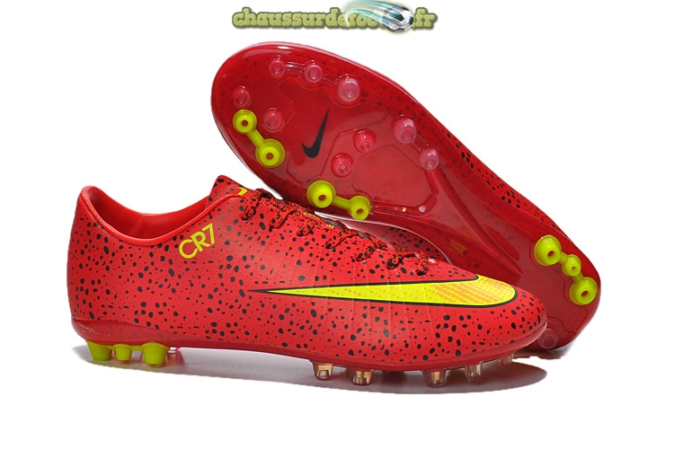 Chaussure Nike Mercurial Vapor CR7 AG Rouge Jaune