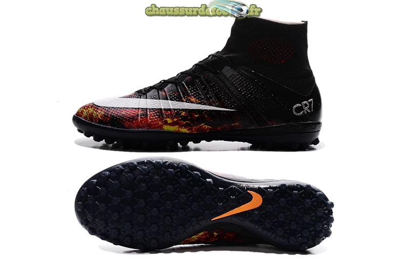 Chaussure Nike Mercurial Veloce CR7 TF Noir Blanc Cramoisi