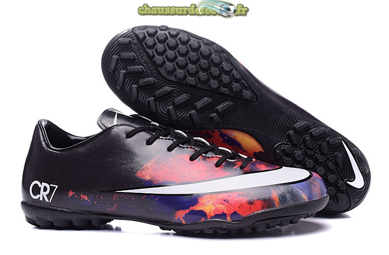Chaussure Nike Mercurial Victory CR7 Enfants TF Noir Cramoisi Blanc