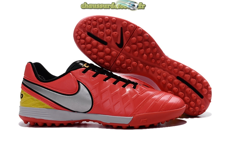 Chaussure Nike Tiempo Legacy VI TF Noir Rouge Argent