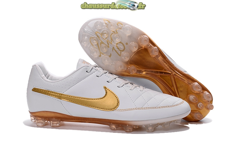 Chaussure Nike Tiempo Legend V AG Blanc Or