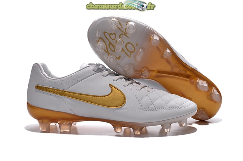 Chaussure Nike Tiempo Legend V FG Blanc Or