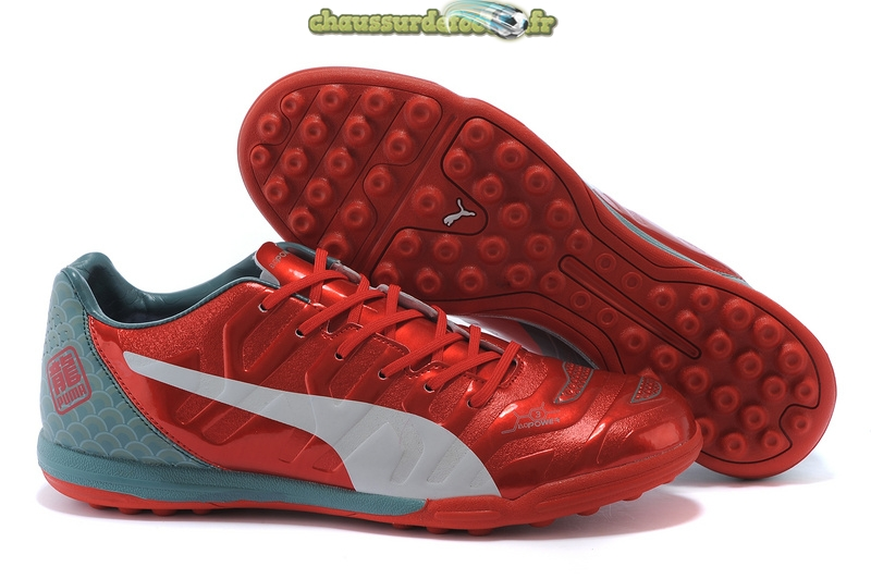 Chaussure Puma evoPOWER TF Gris Rouge Blanc
