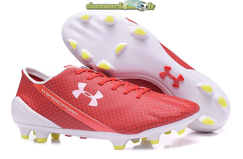 Chaussure Under Armour Speedform FG Rouge Blanc